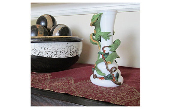 Sculpture Dragon Fantasy Art Renaissance Bud Vase Green