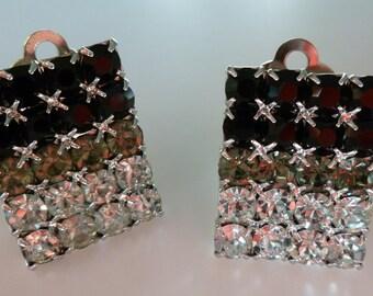 Stunning Vintage Ombre Rhinestone Clip Earrings