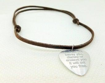 Engraved Guitar Pick Necklace-  Boyfriend Gift, Husband gift,  Husband, boyfriend, Anniversary