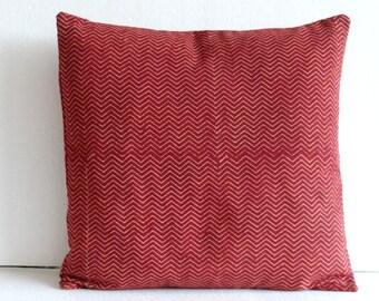 block print Pillow -Chevron Print throw pillow in Red  Chevron cushion cover