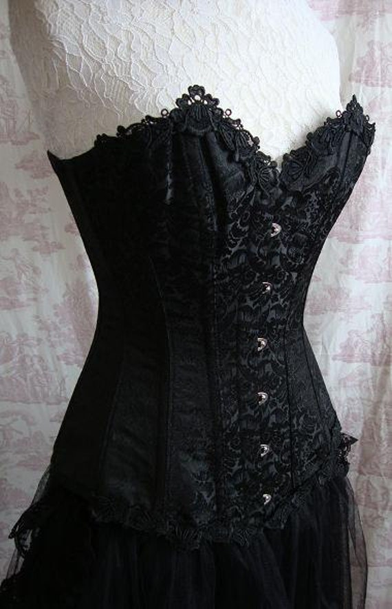 "Gothic Steampunk Corset Long Length 22"" Waist Corset GOTHIQUE NOIR  By Ophelias Folly"