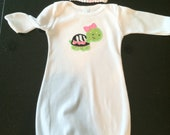 White Baby Infant layette Gown with pink and green turtle
