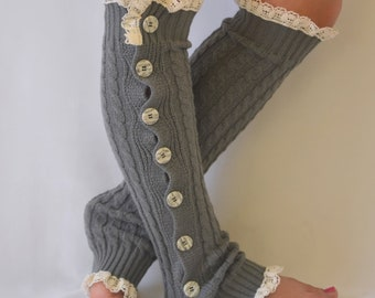 BS5459-Gray cable knit slouchy button lace knit lace leg warmers boot socks knee high socks birthday gifts christmas gifts