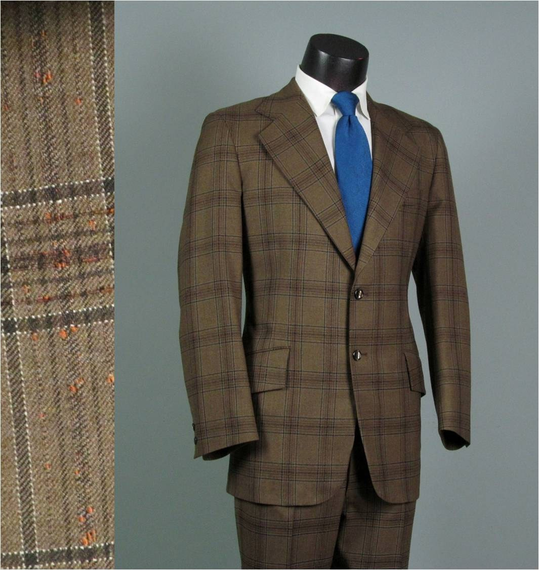 Vintage Mens Suit 1970s Brown Plaid AMERICAN MOD Wool Two