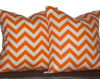 "20"" Pillows Orange and Natural Chevron- 20x20 inch square - TWO PILLOW COVERS"