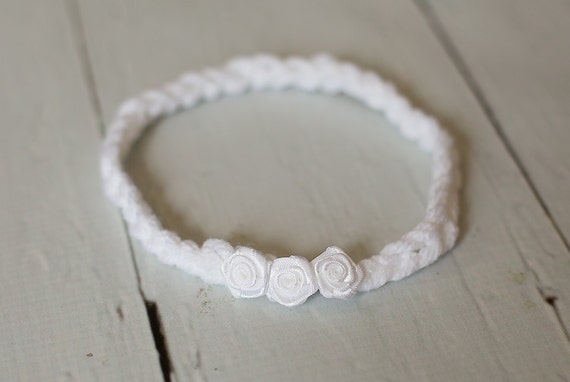 Newborn White Flower Headband Hippie Halo Photography Prop