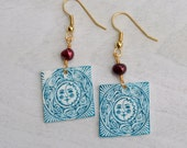 Aqua Celtic Sun Moon Swirls Mauve Pearl Earrings Hypoallergenic - StalkingTheWildSnark