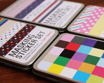 Tin Box Masking Sticker Set - Deco Sticker - Korean Sticker - 4 Cases in