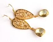 Long oriental gold earrings, citrine glass earrings, bridesmaids gift, wedding jewelry
