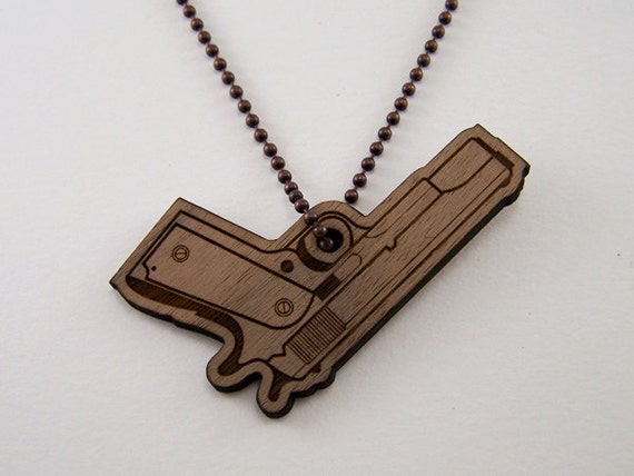 laser cut wood pendant custom gun necklace wooden by