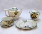 vintage tea set / Tea set with creamer, sugar bowl, desert plates,cups and saucers / 1940s tea set