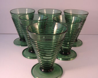 Green Wine / Cordial Glasses - Swirl Design - From Italy