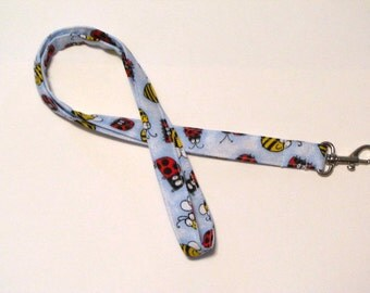 Fabric Lanyard ID badge holder - Great Teacher Gift, Nurse, Student, Coach lanyard - Lady Bugs and Bees