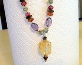 Citrine Pendant with Gorgeous AAA Gem Rondeles