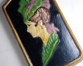 Small Vintage Decor- Black with silhouette of a woman- Paint on plaster- Impression