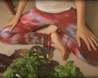 Purple and Turquoise Yoga Leggings Tie Dye