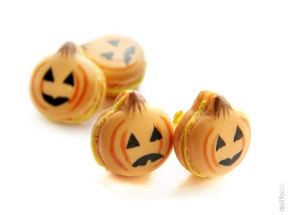 Halloween Pumpkin Macarons Earrings Post - Food Jewelry - Small Ear ...