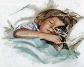 Little Girl and Her Kitten, Sound Asleep, Dream A Little Dream With Me - Antique Art Print Restored - Restored Art Print  #154