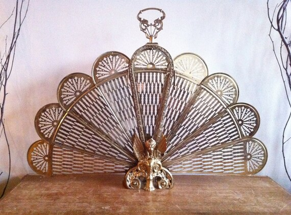 Antique Brass Peacock Style Fireplace Screen with Ornate
