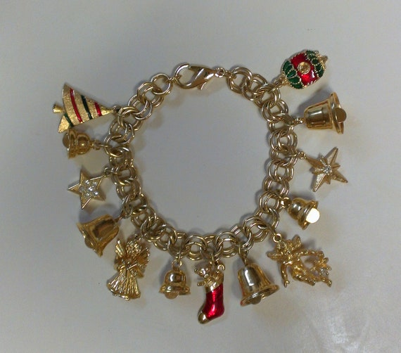 Christmas Charm Bracelet Gold Tone Bells Ornaments and Other Xmas Items