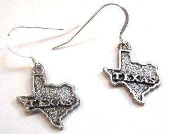 Pewter Texas Charms on Sterling Silver French Hook Dangle Earrings-1008