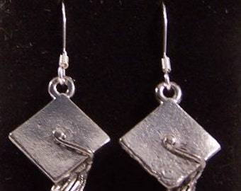 Pewter Graduation Cap Charms on Sterling Silver Ear Wire Dangle Earrings- Free Shipping in the US - (0046)