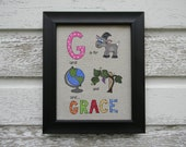 """Fabric Name Block """"G"""" - Personalized Colorful Fun 8 x 10 Framed Name Wall Art For Playroom or Nursery"""