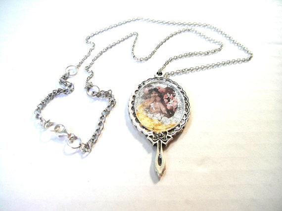 """Decoupage pendant """"Girl with flowers"""" (Antique Silver Plated Metal 2 Sided Mirror Frame Pendant)"""