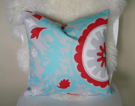 Decorative Pillow cover 16''x16'', Suzani Twill Harmony/Red
