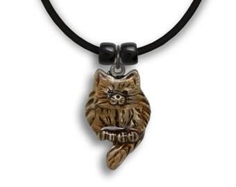 Enamel Topaz Fat Cat Necklace