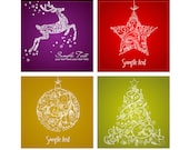4 Christmas cards in 4 different colors digital, deer, star, Christmas tree, bauble, digital clip art, Personal and Commercial Use