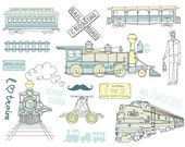 16 train clip art, digital scrapbooking, Hand Drawn, Vintage, birthday invitations, Choo Choo, blue, yellow, Personal, Small Commercial Use
