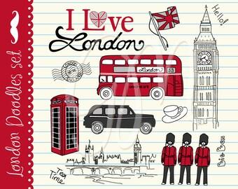 London clip art, unique, hand drawn clipart, symbols of Great Britain