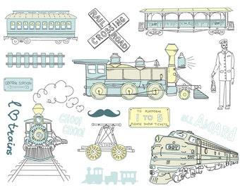 16 train clip art, digital scrapbooking, Hand Drawn, Vintage, birthday invitations, Choo Choo, blue, yellow, Personal, Small Commercial Use