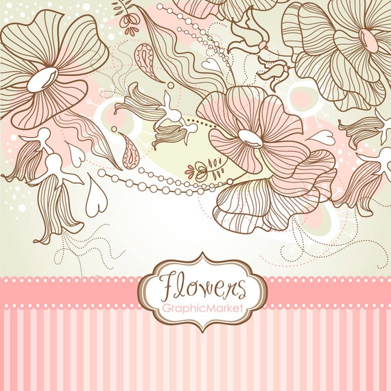 Wedding Boarder Paper: Items Similar To 6 Flower Designs,a Digital Paper And 2