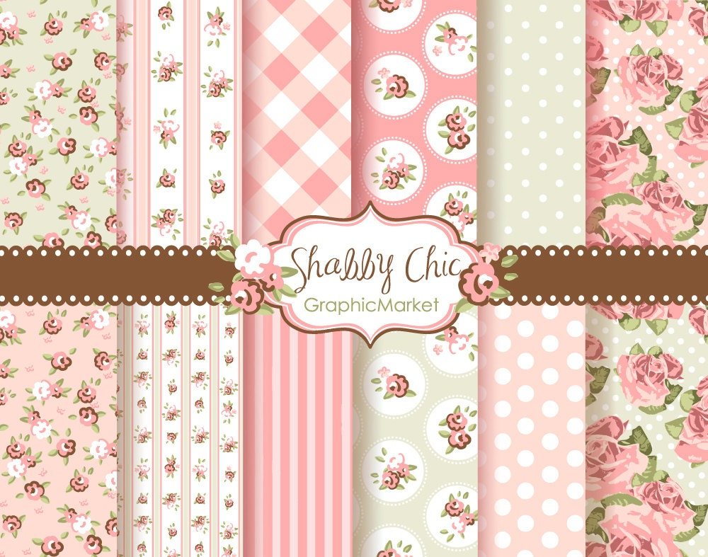 12 Shabby Chic Rose Digital Scrapbook Paper pack for invites