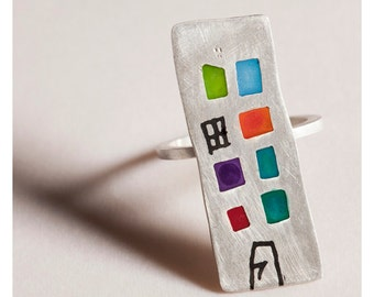 Quirky Silver Ring, Resin Silver Ring, Sterling Silver Ring, Designer Jewelry, Custom Ring, Silver Knuckle Ring, Designer Jewelry