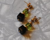 Black cube and olive green earrings
