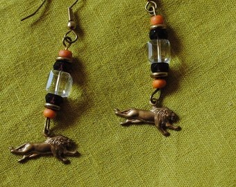 Lion charm and crystal cube earrings