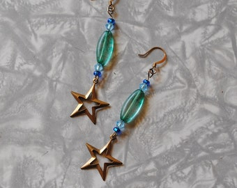 Green and blue star earrings