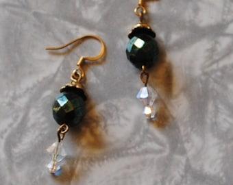 Dark green crystal earrings