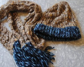 Brown and blue hat and scarf