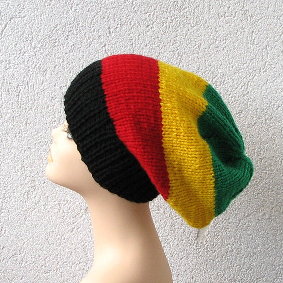 Knitting Pattern For Rasta Hat : simple slouchy beanie hat in color rasta slouchy hat for men