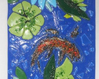 "Koi Fish, Tack-Fused Glass Wall Hanging, 6""x8"" fused glass, slumped glass, glass art"