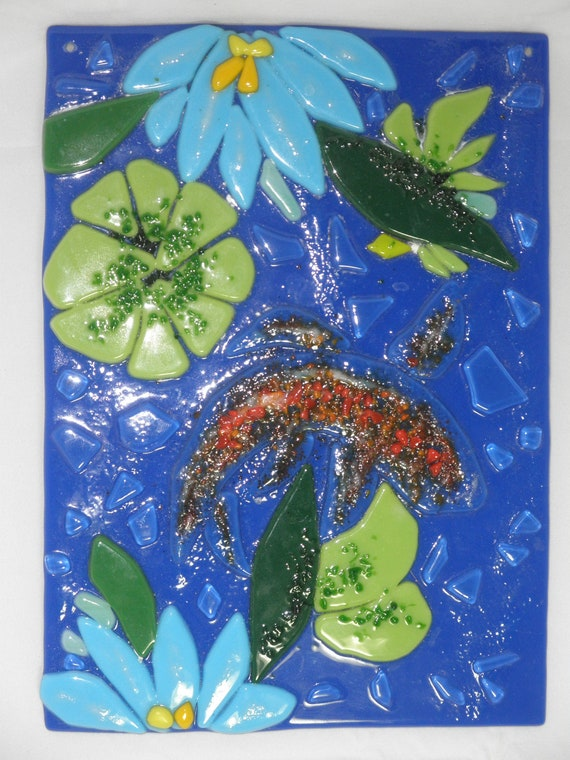 Koi fish tack fused glass wall hanging 6x8 by for Koi wall hanging