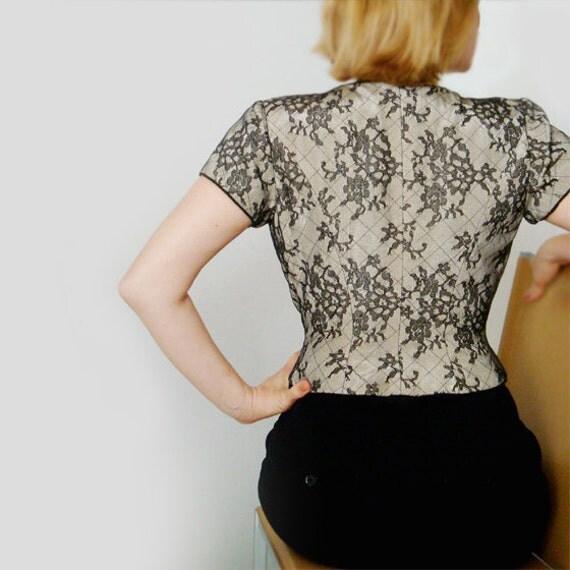 Vintage Lace Top Blouse .  Black Lace.Kay Unger Petites .VICTORIAN Style