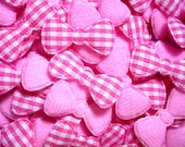 100 Pink Padded gingham Bow Heart fabric appliques trim - 22 x 10 mm. - Wholesale Lot - Scrapbook Card Book Album