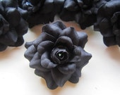 12 Black mini Roses Heads - Artificial Silk Flower - 1.75 inches - Wholesale Lot - for Wedding Work, Make Hair clips, headbands, hats