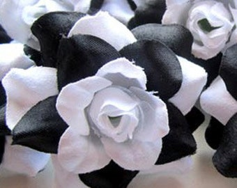 12 White & Black mini Roses Heads - Artificial Silk Flower - 1.75 inches - Wholesale Lot - for Wedding Work, Make Hair clips, headbands