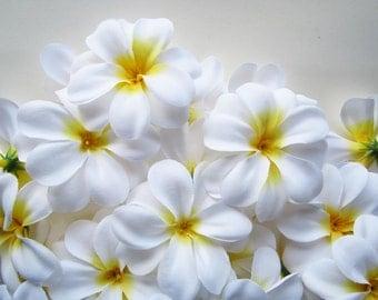 100 White Plumeria Frangipani Heads - Artificial Silk Flower - 3 inches - Wholesale Lot - for Wedding Work, Make Hair clips, headbands, hats